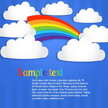 Vector background with colorful rainbow on blue sky with clouds - vector gratuit(e) #127105