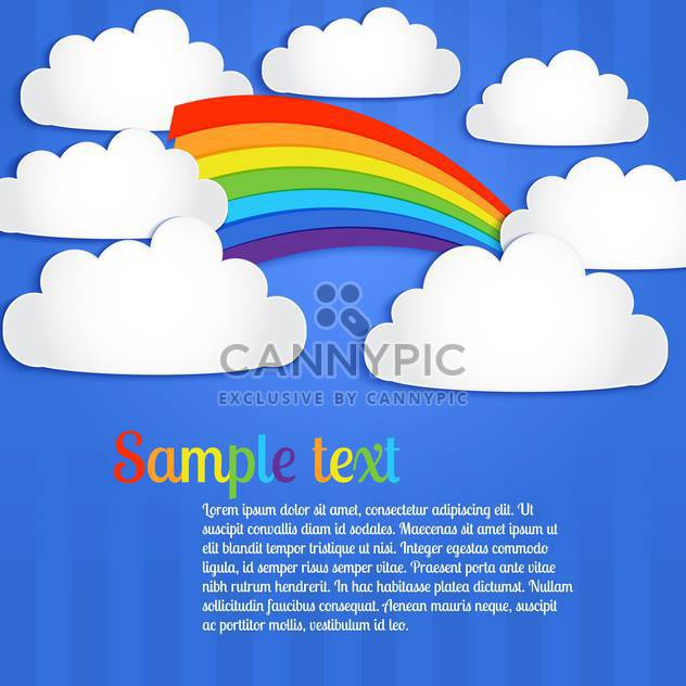 Vector background with colorful rainbow on blue sky with clouds - Free vector #127105
