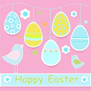 Happy Easter colorful Card with Chicks and Eggs - vector #127185 gratis