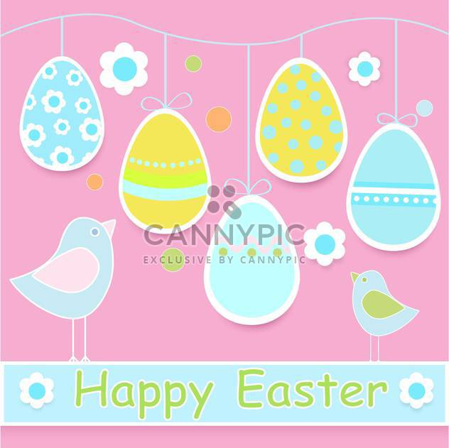 Happy Easter colorful Card with Chicks and Eggs - Free vector #127185