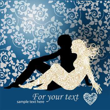Vector Couple Silhouette Laying On Ground on floral background - vector gratuit(e) #127225