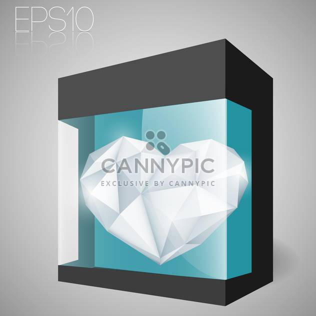 Vector illustration of jewelry heart in glass box - Free vector #127245