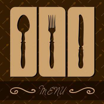 restaurant menu with cutlery on brown background - Free vector #127255