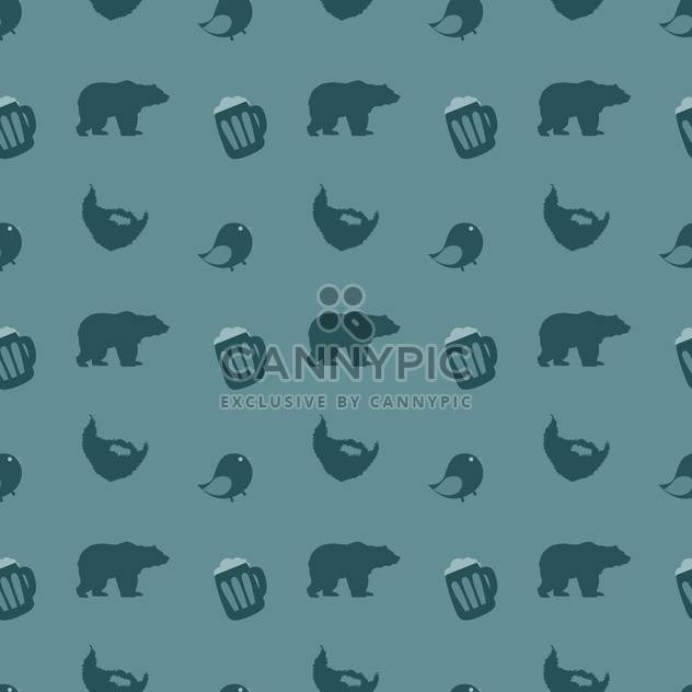 Bears and beer with birds on blue background - Free vector #127465