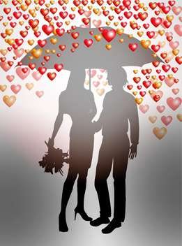 Couple under umbrella on Valentines Day background - Free vector #127515
