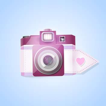Vector photo camera for valentine's day on blue background - vector gratuit(e) #127555