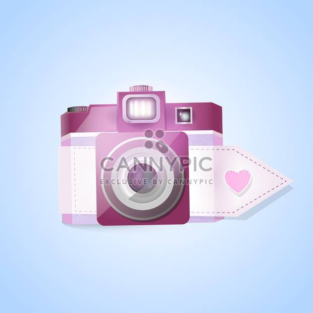 Vector photo camera for valentine's day on blue background - Free vector #127555