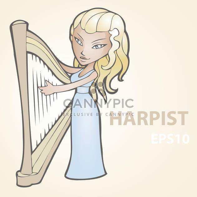 Vector illustration of female harpist on beige background - Free vector #127575