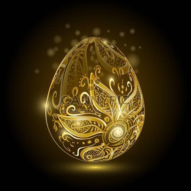 Golden easter egg with floral ornament on dark background - Free vector #127595
