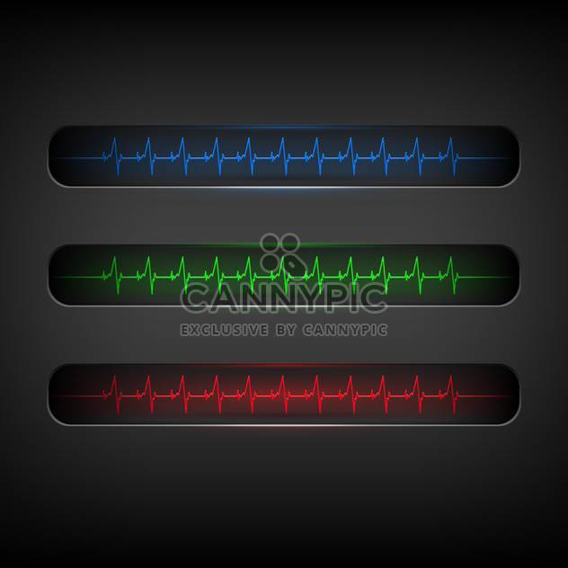 Colorful heartbeat medical elements on dark background - Free vector #127675