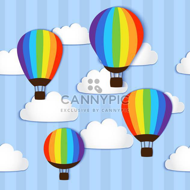 Vector illustration of hot air balloons in sky - Free vector #127685
