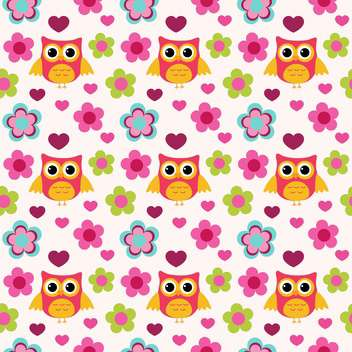 Seamless colorful owls pattern with flowers - vector #127715 gratis