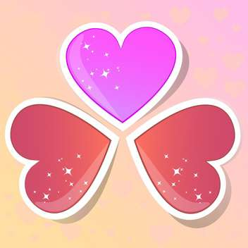 Valentine hearts on colorful background - vector gratuit #127725