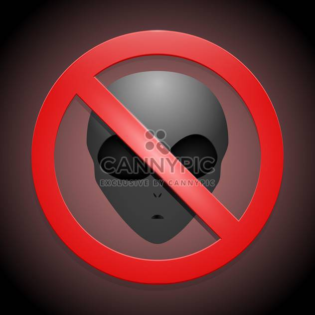 Vector red color prohibitory sign with alien face on dark background - Free vector #127785