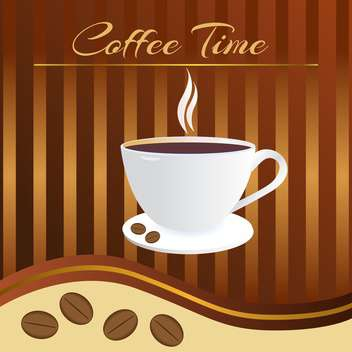 brown color coffee time card - vector #127815 gratis