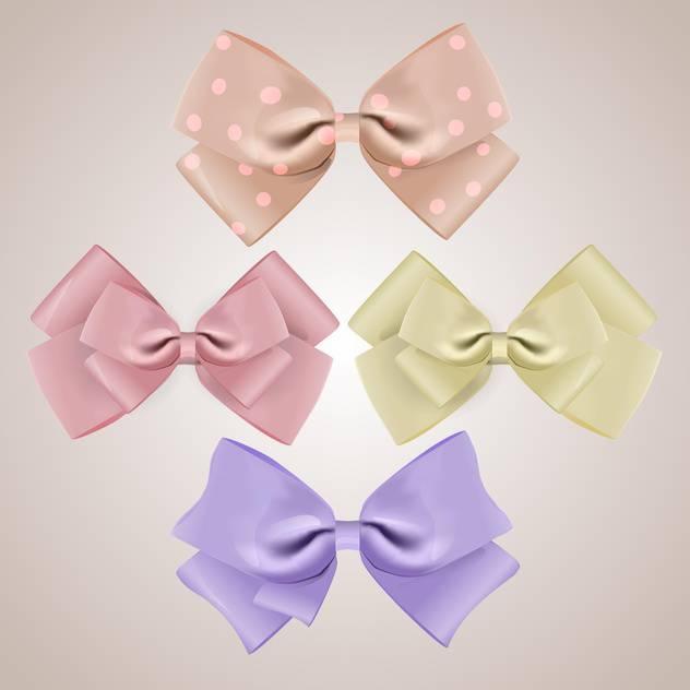 vector set of silk bows on grey background - vector #127845 gratis