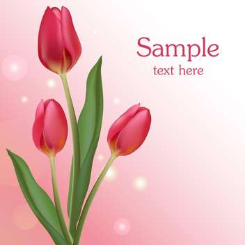Bunch of pink tulips with text place - vector gratuit #127865