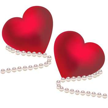 two red valentine hearts with pearl on white background - vector gratuit #127925