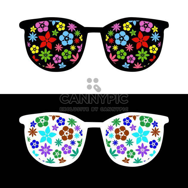 fashion sunglasses with flowers on black and white background - Free vector #127935