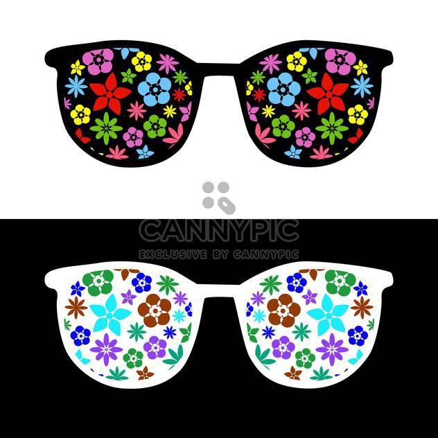 Mode Sonnenbrillen mit Blumen auf schwarzen und weißen Hintergrund - Free vector #127935