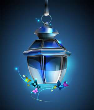 vector illustration of old lamp on blue background - vector gratuit #128005