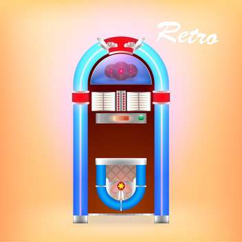 Vector illustration of retro juke box on orange background - Free vector #128025