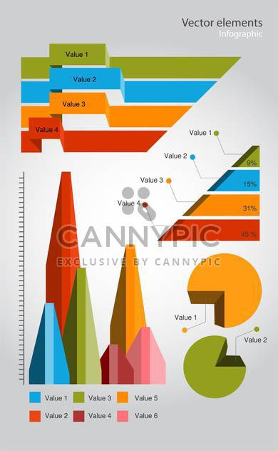 colorful infographic elements on grey background - Free vector #128065