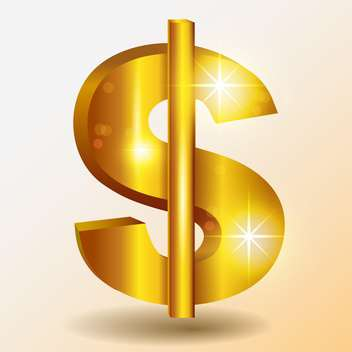Golden shiny dollar vector sign - vector gratuit #128145