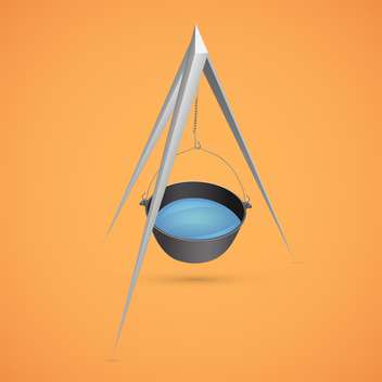 Black kettle for campfire on tripod vector illustration - Free vector #128185