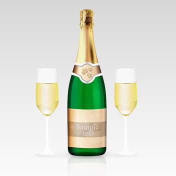 Two glasses and bottle of champagne, vector illustration. - vector gratuit #128225