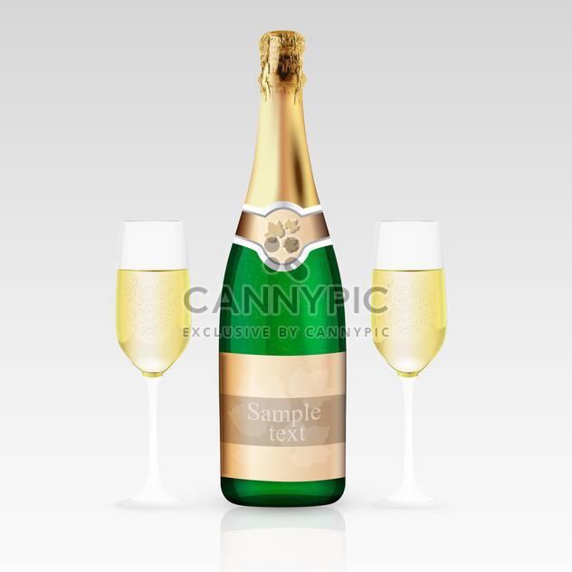 Zwei Gläser und eine Flasche Champagner, Vektor-illustration. - Free vector #128225