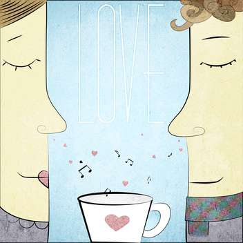 male and female couple in love with a tea cup - vector #128345 gratis