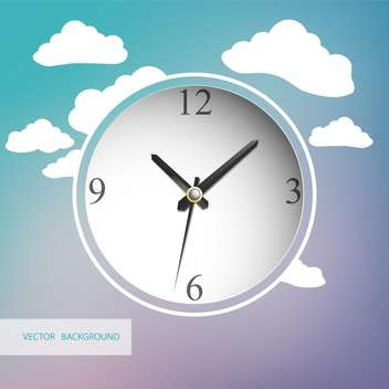 White clock with clouds on background - vector gratuit #128385