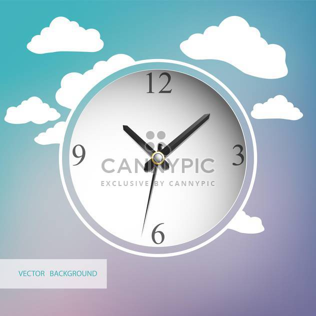 White clock with clouds on background - Free vector #128385