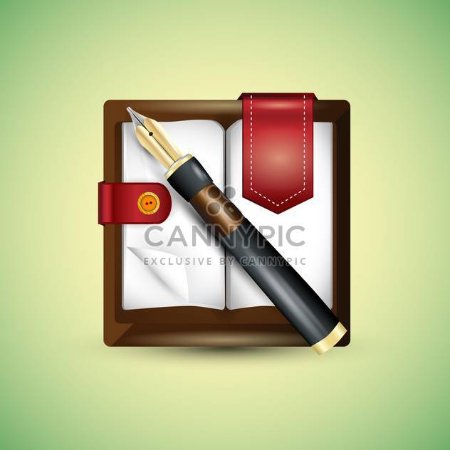 Vector fountain pen on notepad - Free vector #128435
