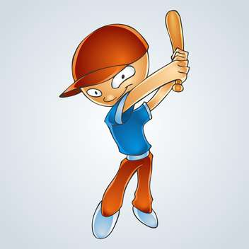 Vector illustration of cartoon boy playing baseball - Free vector #128465