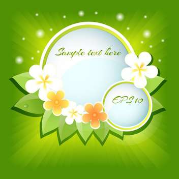 Vector green floral background with sample text - vector gratuit #128515