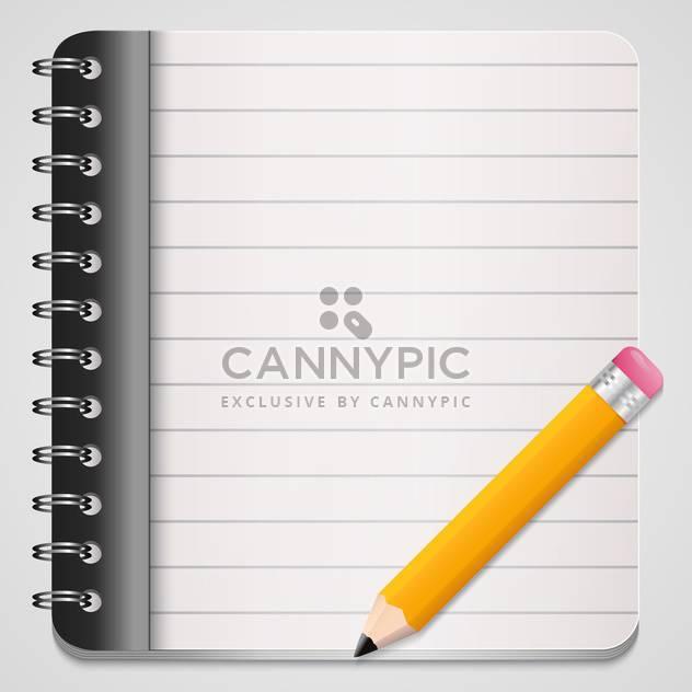 Vektor-Illustration der gelbe Bleistift mit Spule gebunden notebook - Kostenloses vector #128555