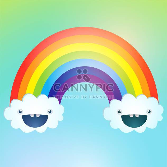 Vector symbol of rainbow and clouds in the sky - Free vector #128595