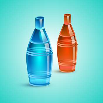 Vector illustration of empty red and blue bottles - бесплатный vector #128615