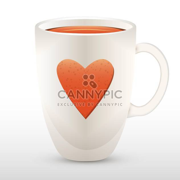 Vector illustration of cup of tea with heart. - Free vector #128635