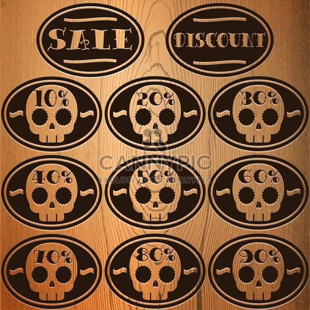 Set of vector sale skull stickers - Free vector #128675