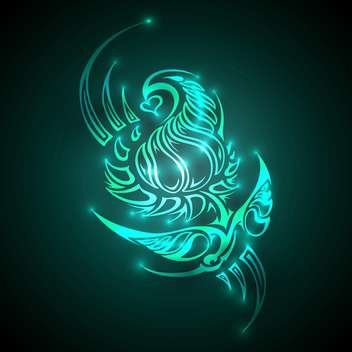 Vector illustration of neon colored ornament on dark background - vector gratuit #128705