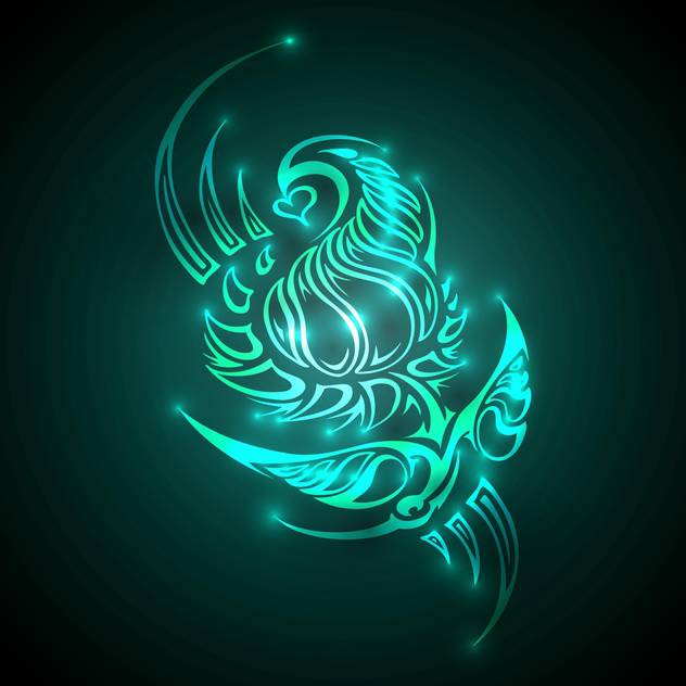 Vector illustration of neon colored ornament on dark background - vector gratuit(e) #128705