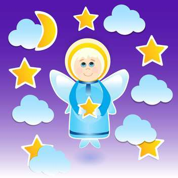 Vector illustration of angel with a star on the sky - vector gratuit #128785