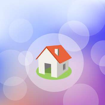 Vector illustration of home with red roof in bokeh circle - vector gratuit #128855