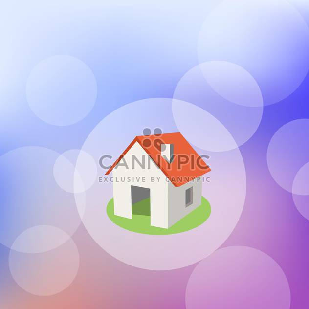 Vector illustration of home with red roof in bokeh circle - Free vector #128855