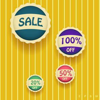 Set of vector sale labels on yellow background - vector gratuit #128875