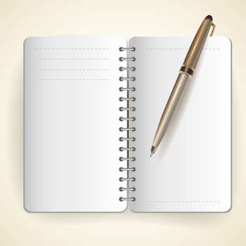 Vector illustration of notepad and ball pen - vector gratuit #128945