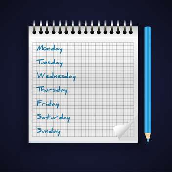 vector notebook with handwritten week days - vector gratuit #129005